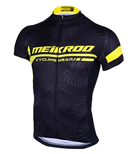 Yiiquan Herren Sommer Kurzarm Outdoor Sport Atmungsaktiv Radfahren Trikot Cycling Jersey Bike Shirt (Schwarz Gelb, Asia 3XL)