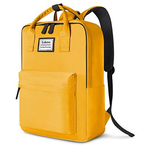 Soko Laptop-Rucksack für Damen und Herren, stilvoller Uni-Rucksack, Schultasche, leicht, für Reisen, Arbeit, Handgepäck, für Laptops bis zu 39,6 cm (15,6 Zoll), Gelb