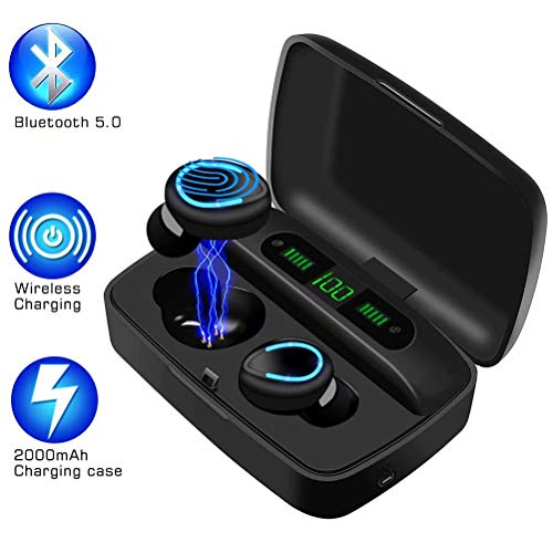 AMANKA Auriculares Bluetooth 5.0, 150H Reproducción Auriculares Inalámbricos Sonido Estéreo In-Ear Sport Auricular con Mic, Digital Display Estuche de Carga,Control Táctil, para I OS y Android