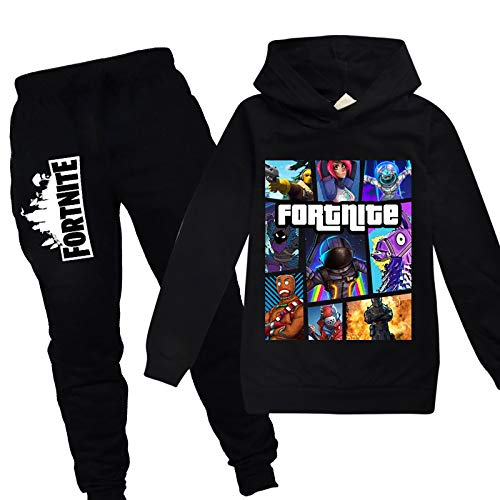 Youth Fortnite Pullover Hoodie and Sweatpants Suit for Boys Girls 2 Piece Outfit Sweatshirt Set Black