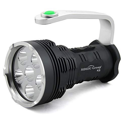 Sidiou Group NUEVO de Searchlight alta potencia super brillante 8000 lúmenes 6x Cree XM-L T6 LED linterna Searchlight (Sólo linterna)