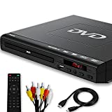 DVD Player for TV - Compact AV Connection DVD Player, Read All Region DVDs, USB Input Feature, PAL/NTSC Auto-Switch, Small CD/DVD Player for Home, HD 1080P, with HDMI&AV Cables, Remote Control