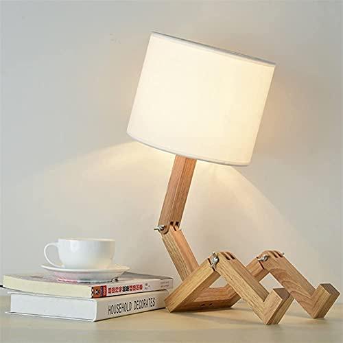 Lámpara de escritorio de robot creativo, lámpara de juego de madera ajustable de madera con lámparas de tela E27 Tornillo para niños Dormitorio Oficina Sala de estar Iluminación decorativa [Clase de e