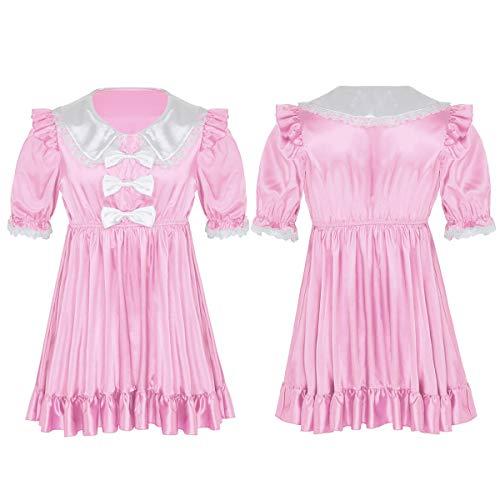 iEFiEL Herren Sissy Dessous Satin Kleid Männer Dienstmädchen Kostüm Uniform mit Schleife Crossdresser Unterwäsche Kurzarm Nachthemd Rosa Medium