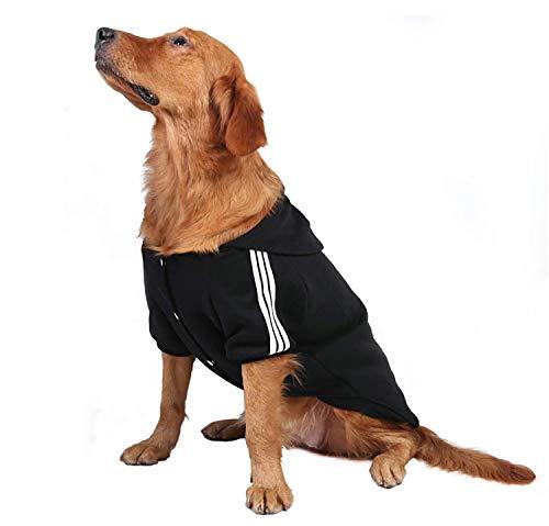 YAODHAOD Sudaderas con capucha para perro, color sólido, ropa de perro, sudadera con capucha, de algodón, cálida chaqueta de abrigo para perros grandes y medianos (XXXXXL, negro)