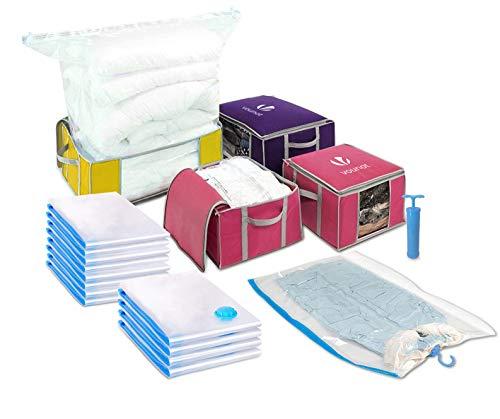 VOUNOT Vakuum Aufbewahrungstasche mit Pumpe, 17 Stück Vakuumbeutel, 4 Stück Aufbewahrungstasche mit Griff und Reißverschluss, für Kleidung, Bettdecken, Bettwäsche