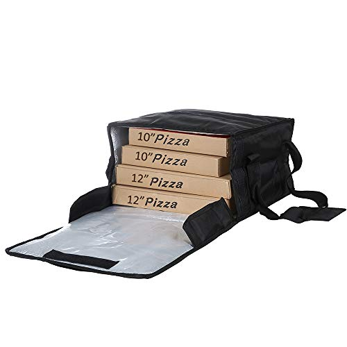"Backery supply Polyester Insulated Pizza/Food Delivery Bag Professional Pizza Delivery Bag 14""×14""×8"" for Four 12"" Pizza Boxes (Black)"