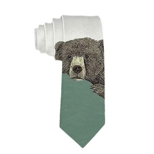 Corbata clásica de poliéster para hombre Corbata linda con oso verde para sofá Corbatas para bodas, novios, padrinos de boda, misiones, bailes, regalos