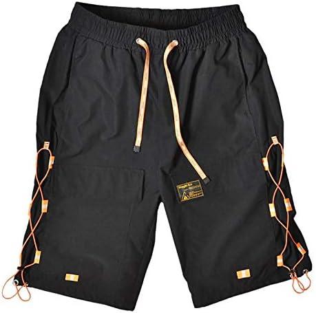 JiuRui Leisure Shorts Streetwear Block Cargo Shorts Summer Hip Hop Short Men Joggers Cotton SweatShorts Belt Khaki (Color : Black, Size : S)