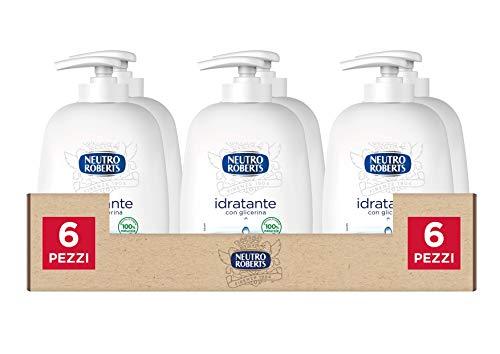 Neutro Roberts Sapone Liquido Idratante con Glicerina, Sapone Liquido per le Mani con Ingredienti Naturali, Flacone in Bio Plastica, Riciclabile, Confezione da 6x200 ml