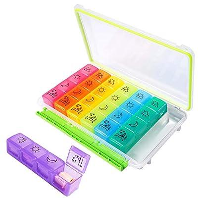 Pill Organizer 4 Times a Day, Hzrfun Medicine O...