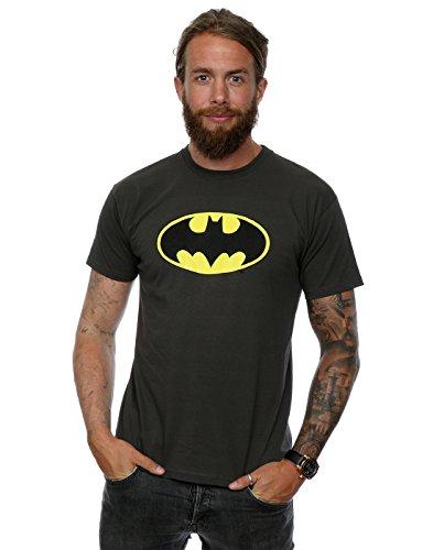 Camiseta de manga corta para hombre con logo de Batman, de DC Comics Gris gris claro Large