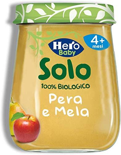 Hero Solo Omogeneizzati frutta Pera e Mela Bio, Cartone da 6 Vasetti x 120 g