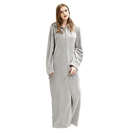 MedusaABCZeus Pyjama Damen langpyjama,Reißverschluss Bademantel Kapuze Flanell Pyjama-hellgrau Frauen_L,Morgenmantel...