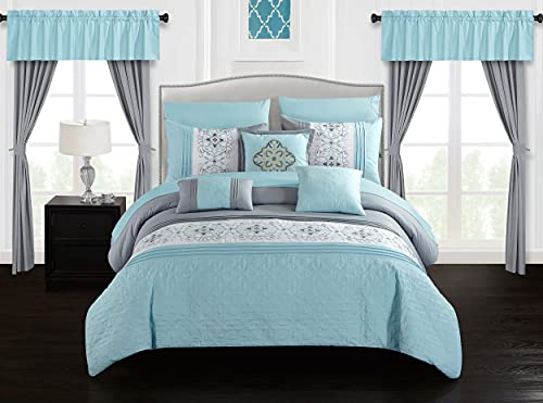 Chic Home Emily 20 Piece Comforter Set Color Block Floral Embroidered Bag Bedding, Queen Aqua Blue