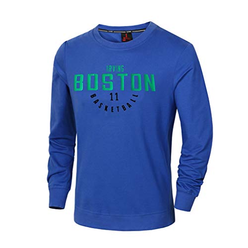 CHANGRAN Primavera y Verano Basketball Jersey Boston Celtics # 11 Irving Camiseta de Manga Larga Camiseta de Baloncesto Casual Fitness Ropa Azul,XL