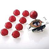 Sanwa JLF-TP-8YT Joystick + Sanwa 8 pcs OBSF-30 Push Button Bundle Kit Color : Red - for Arcade Game 4 & 8 Way Adjustable, Compatible with Catz Mad SF4 Tournament Joystick S@NWA
