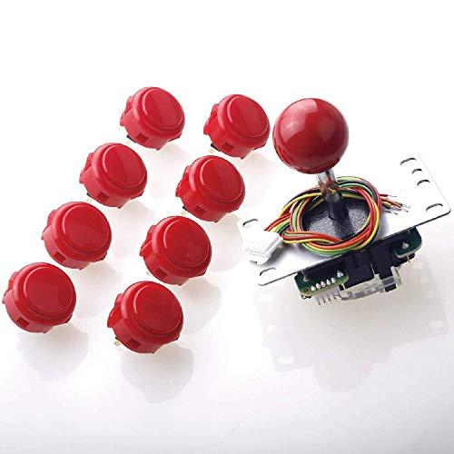 Sanwa JLF-TP-8YT Joystick + 8 Stück Sanwa OBSF-30 Druckknöpfe, Set Farbe: Rot