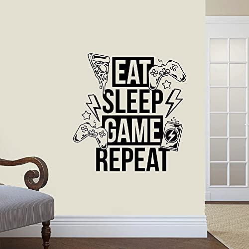 Calcomanía de vinilo para pared Eat Sleep Game Repeat Video Game Joystick Game Room Sticker Mural Vinyl Decal Wall Sticker A1 57x62cm