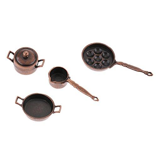 non-brand 1:12 Conjunto de Utensillos de Cocina de Metal en Miniatura Decoración de Dollhouse - 5 Piezas