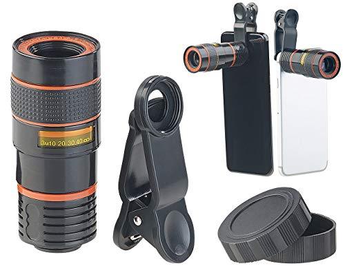 Somikon Teleobjektiv: Smartphone-Vorsatz-Tele-Objektiv mit 8-Fach optischer Vergrößerung (Handy Linsen)