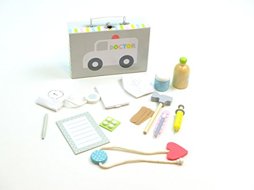 JaBaDaBaDo Doktor Spiel-Set im Koffer / 14-teiliges Zubehör Set aus Holz / Koffer mit Metallgriff + Metallverschluß / Maße des Koffers: 23x15x7 cm