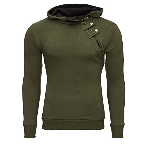 Tazzio Herren Styler Sweatshirt mit Kapuze Pullover Hoodie 16213 Khaki M