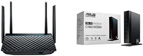 ASUS Dual-Band 2x2 AC1300 Wifi 4-port Gigabit Router with USB 3.0 (RT-ACRH13) and ASUS DOCSIS 3.0 High Speed 16 x 4 Cable Modem