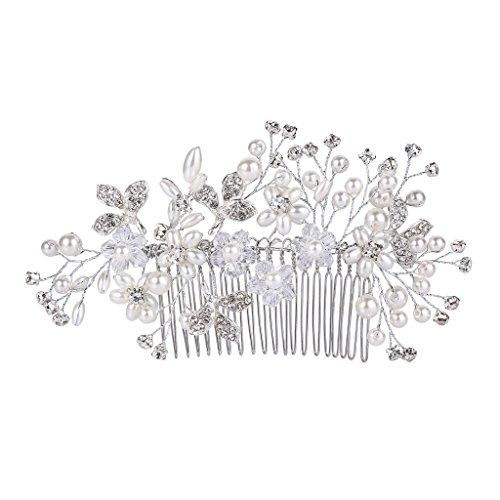 Clearine Damen Böhmisch Boho Kristall Weiß Künstliche Perlen Cluster Blume Haarkamm Klar Silber-Ton
