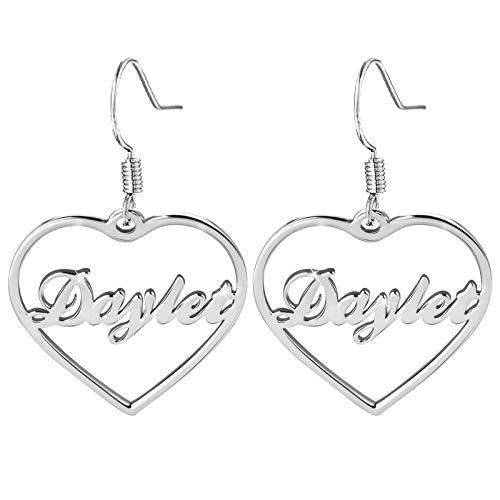 Pendientes con nombre Colgante de corazón Pendientes con nombre grabado Pendientes personalizados Gota para el oído(Plata 1.18)