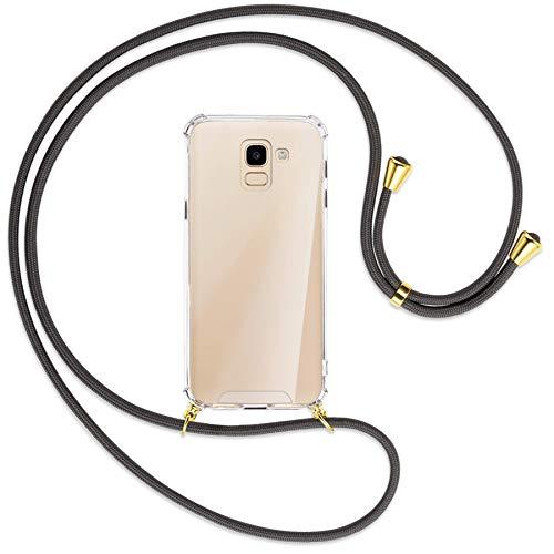 mtb More Energy Collar Smartphone para Samsung Galaxy J6 2018 (SM-J600, 5.6'') - Gris Oscuro/Oro - Funda Protectora ponible - Carcasa Anti Shock con Cuerda