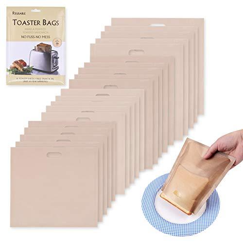 20 bolsas reutilizables para tostadas, antiadherentes, lavables, de teflón, en 4 tamaños, para tostadas, sándwich, aperitivos, parrilla de microondas