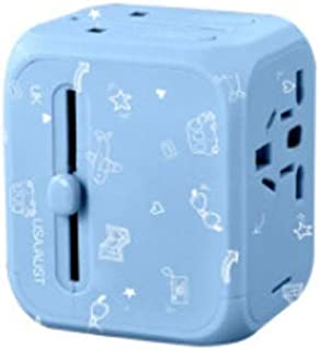 XIMINGJIA-O Power Plug Adapter - International Travel - 2 USB Ports in Over 150 Countries - 100-240 Volt Adapter - (1 Pack) Blue International Converter,