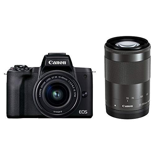 Canon ミラーレス一眼カメラ EOS Kiss M2 ダブルズームキット ブラック KISSM2BK-WZK