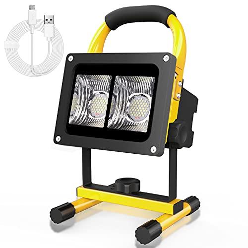LED Baustrahler Akku, T-SUN 40W Wiederaufladbare LED Arbeitsleuchte tragbares Flutlicht Baulampe mit 9000mAh, IP65 Wasserdicht Tageslichtweiß Arbeitsbeleuchtung für Werkstatt Baustelle