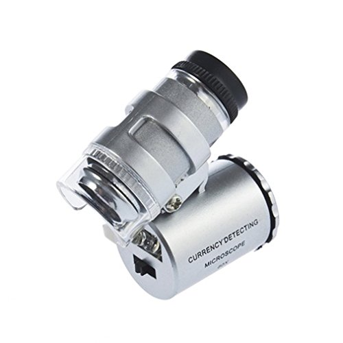 KIMILAR Mini 60X LED Mikroskop, Taschenmikroskop Lupe Mikroskop für Juwelier Einstellbare Lupe mit UV-Licht