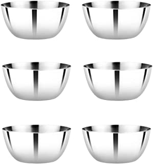 Vinod Stainless Steel Two Tone Bowl Set of 6 pcs, Capacity 200 ml, Smokey Gray, Medium (VINODTTB556)