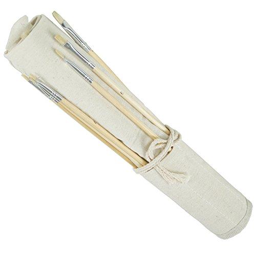 18er Pinsel Set von Artina - Flach- und Rundpinsel mit Transporttasche - ideal für alle Bereiche der Kunst und Malerei