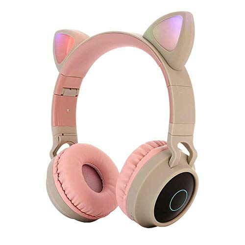 MMSD Bluetooth Headphones,Wireless Headphones,Headphone Over Ear,Kids Headphones,Cat Ear LED Light Up Bluetooth Foldable Headphones