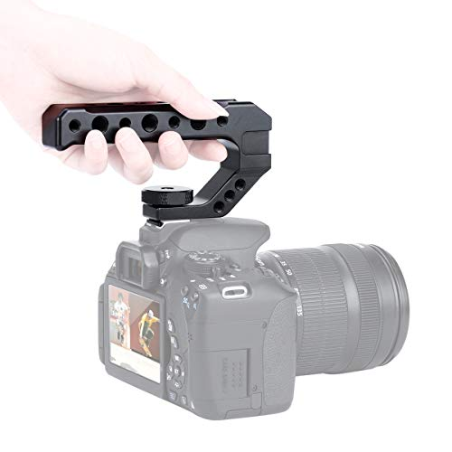 R005 Kamera Top Griff Camera Top Käse Griff Universal Video Stabilizing Rig W 3 Cold Shoe Adapter zur Befestigung von Mikrofon, LED-Licht, Monitor, Easy Low Angle Shoots Metal