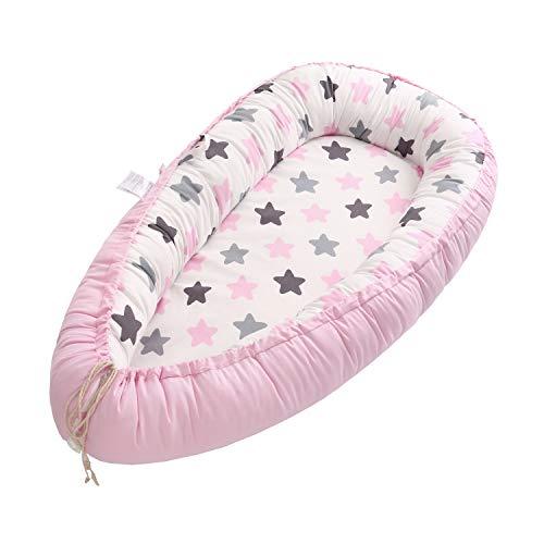 Miracle Baby Cuna Bebé,Nido Bebé Portátil, Cuna Nidos Ajustable, Cama Nido de Bebé Recién Nacido,Multifuncional Cuna Cama de Viaje para Bebe Dormir,Estrella rosa(88x53x15cm)