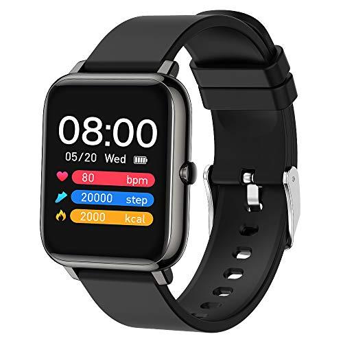 Popglory Smartwatch Orologio Fitness Uomo Donna Smart Watch con Saturimetro (SpO2) Misuratore Pressione Cardiofrequenzimetro Impermeabile IP67 Orologio Sportivo con Notifiche Messaggi per Android iOS