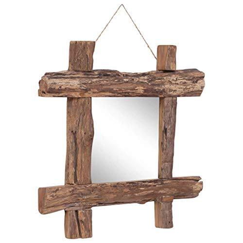 vidaXL Holzspiegel Wandspiegel Flurspiegel Barspiegel Spiegel Dekospiegel Badezimmerspiegel Garderobenspiegel Natur 50x50cm Recyceltes Massivholz
