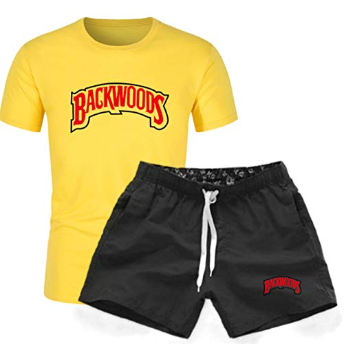 GIRLXV Traje De Hombre Camiseta Estampada Pantalones Cortos De Cinco Puntos Letras De Moda De Manga Corta para Hombre Backwoods Camiseta Traje Deportivo M