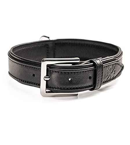 Collar de cuero premium para perros Lilly – Collar de piel de ternero – Collar de perro de cuero auténtico Lilly (L – Negro)
