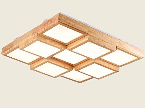 Plafonnier Peaceip Nordic Simple Solid Wood LED Light pour Couloir, Chambre à Coucher, Cuisine, Salon (lumière Blanche) (Taille : Nine Grid)