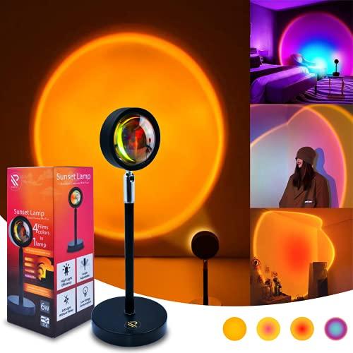 Sunset Lamp LED Sunset Projection Lamp 180 Degree Rotation Adjustable Height Night Rainbow Light USB...