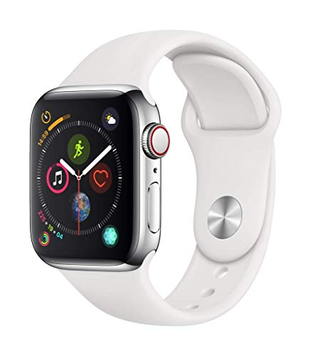 Apple Watch Series 4 (GPS + Cellular) con caja de 40 mm de acero inoxidable y correa deportiva blanca