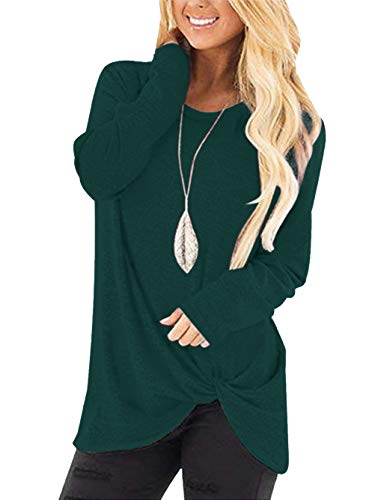 Yidarton Women's Comfy Casual Long Sleeve Side Twist Knotted Tops Blouse Tunic T Shirts(gr2,l)