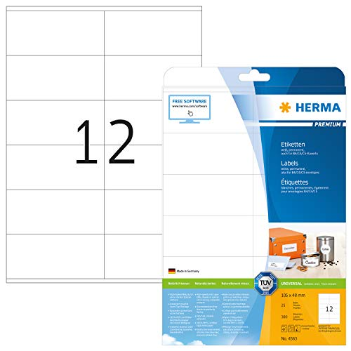 HERMA Etichette Universali, 105 x 48 mm, Etichette Adesive A4 per Stampante, 12 Etichette per Foglio, Bianco